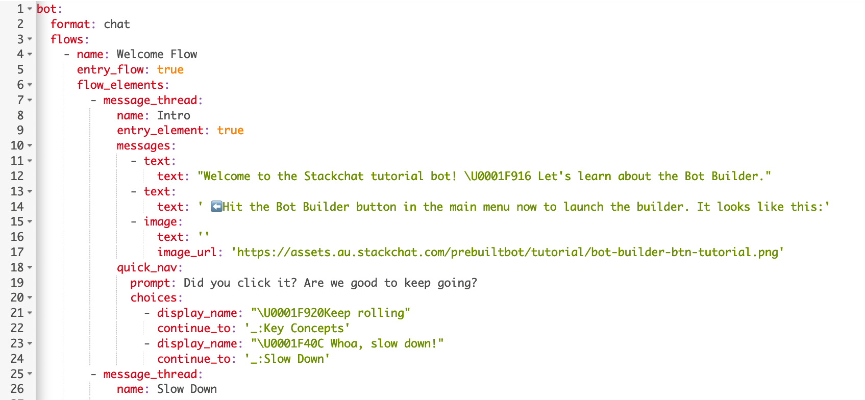 Sample CDML from the Stackchat Studio tutorial bot.