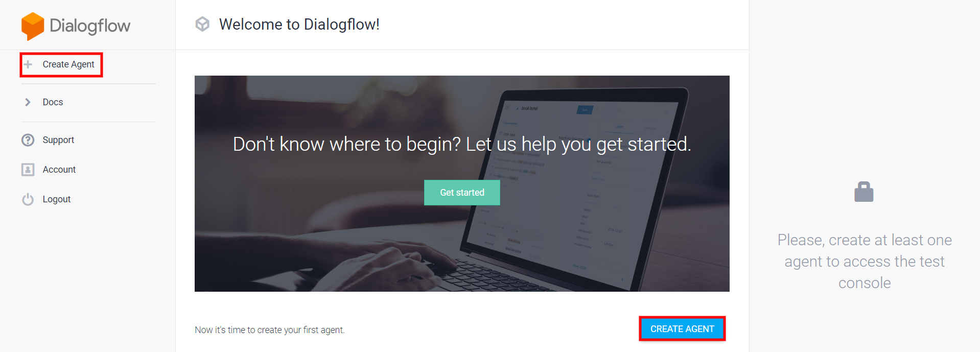 The welcome page for Dialogflow